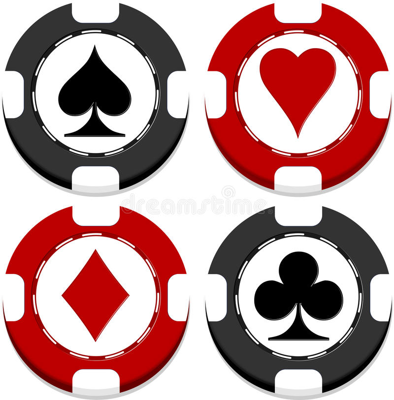 Casino chips. With heats, spades, clubs and diamonds vector illustration