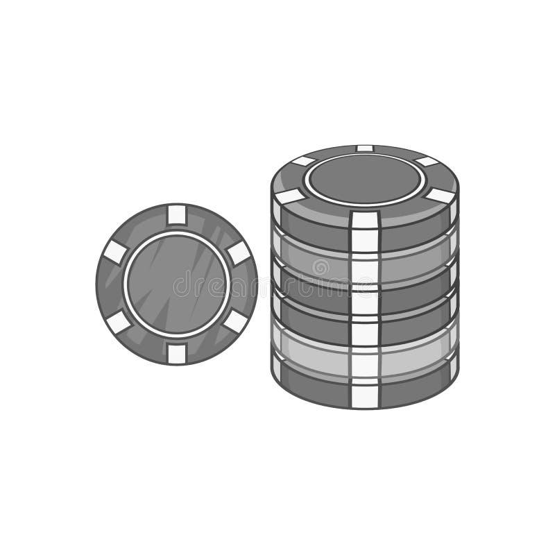 Casino chips icon, black monochrome style. Casino chips icon in black monochrome style on a white background vector illustration vector illustration
