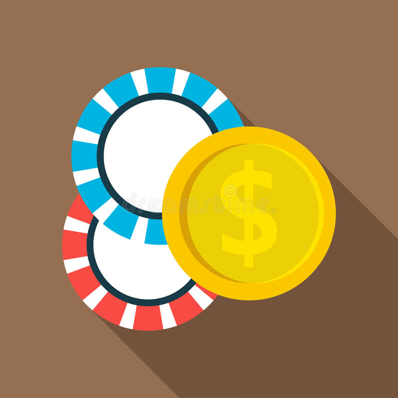 Casino chips icon, flat style. Casino chips icon in flat style with long shadow vector illustration