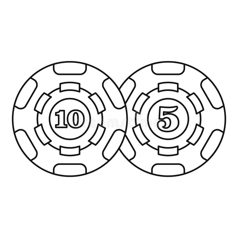 Casino chips icon, outline style. Casino chips icon. Outline illustration of casino chips vector icon for web royalty free illustration