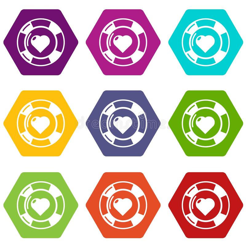 Casino chips icons set 9 vector. Casino chips icons 9 set coloful isolated on white for web vector illustration