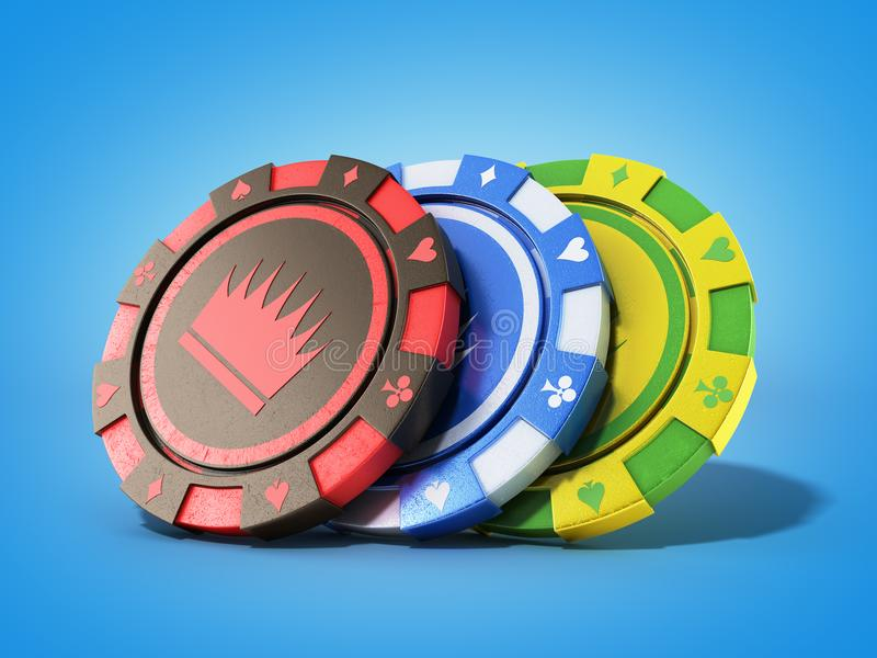 Casino chips isolated on blue realistic 3d render objects. Casino chips isolated on blue realistic 3d render stock illustration