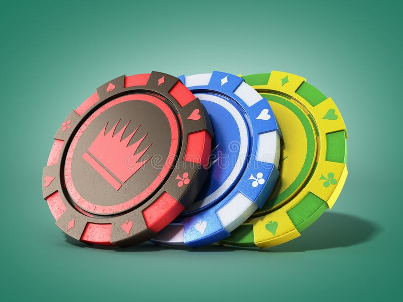 Casino chips isolated on green realistic 3d render objects. Casino chips isolated on green realistic 3d render royalty free illustration