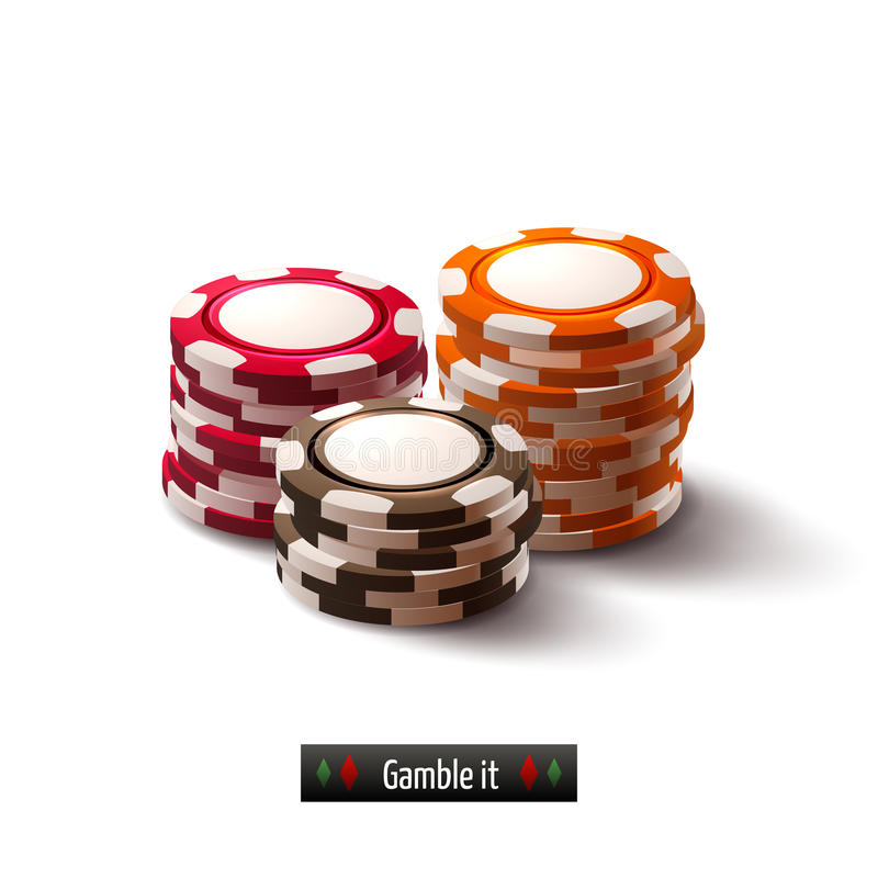 Casino chips isolated. Casino roulette gambling realistic chip stacks isolated on white background vector illustration royalty free illustration