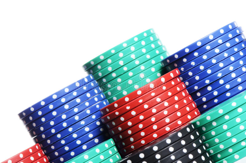 Casino chips on white royalty free stock photos