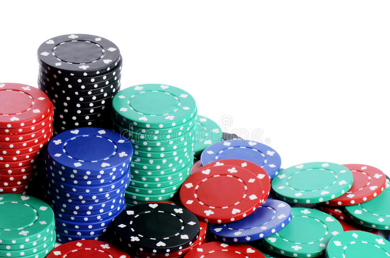 Casino chips isolated on white. The casino chips isolated on white background royalty free stock image