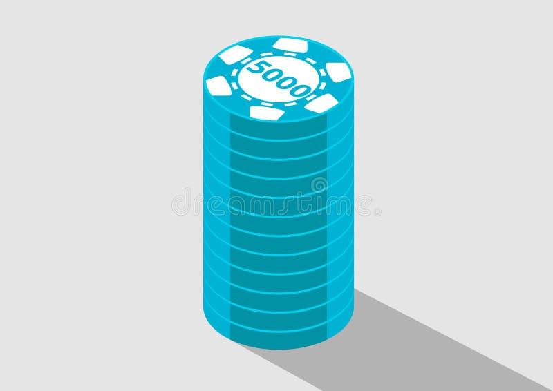 Casino chips 5000k currecy money isometric vector illustration