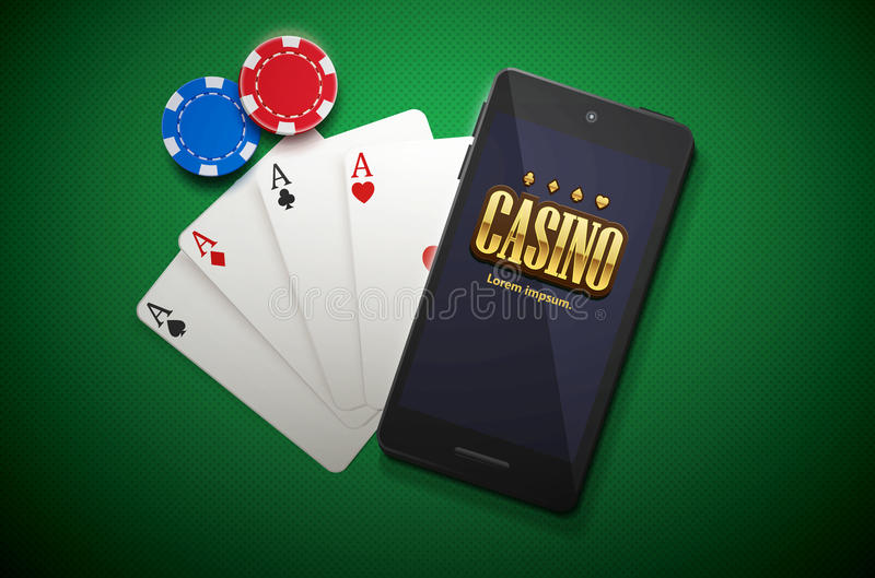 Casino chips and mobile on green background stock illustration