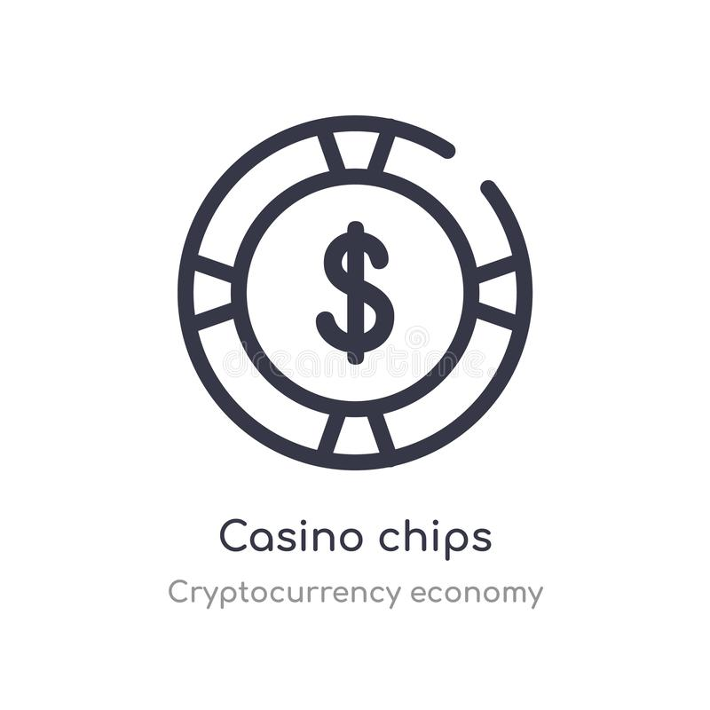 casino chips outline icon. isolated line vector illustration from cryptocurrency economy collection. editable thin stroke casino stock illustration