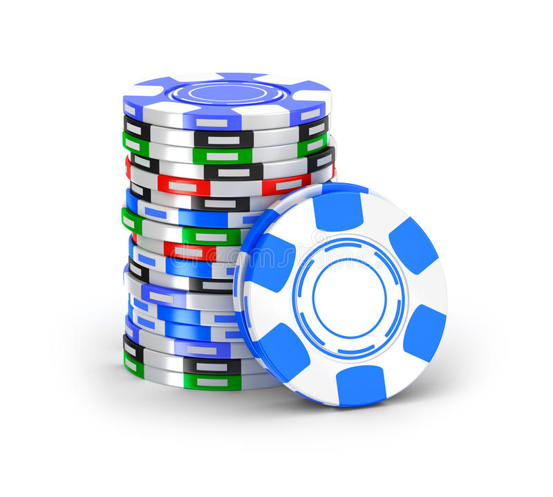 Casino chips in pile. Over white royalty free illustration