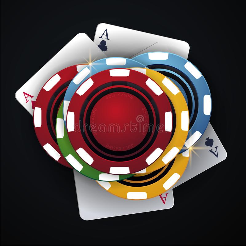 Casino chips and playing card on the dark background. Vector illustration. Casino chips and playing card on the dark background. Vector illustration vector illustration