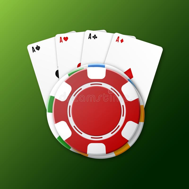 Casino chips with playing cards. Top view. Casino background. EPS10 vector royalty free illustration