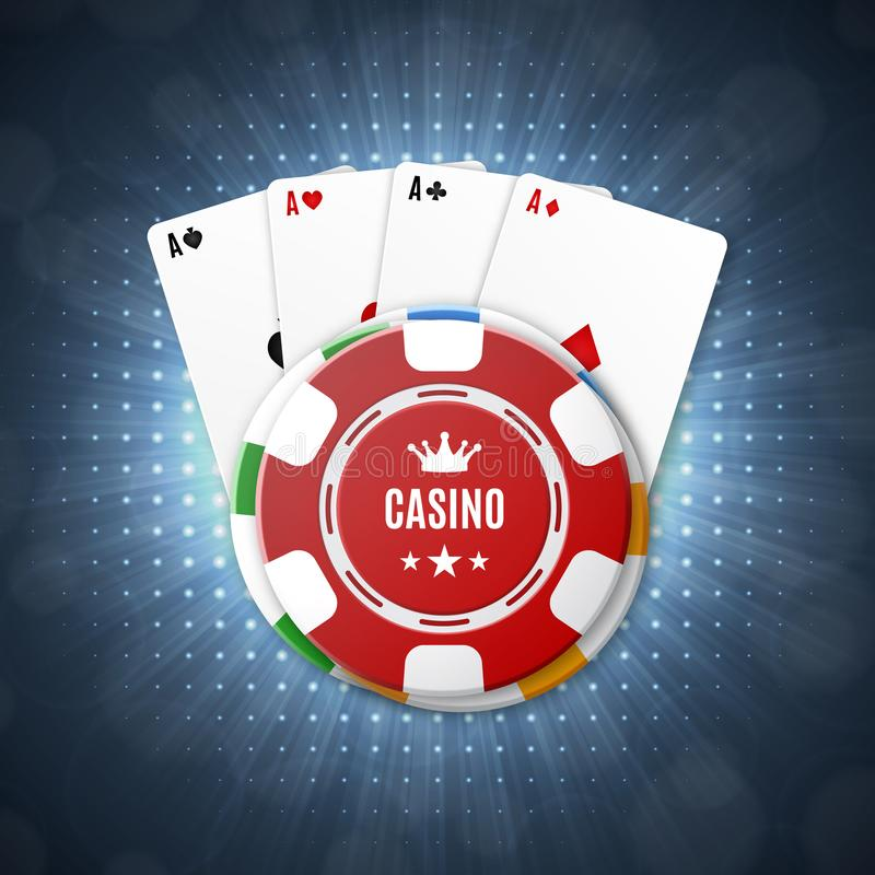 Casino chips with playing cards. Top view. Casino background. EPS10 vector stock illustration
