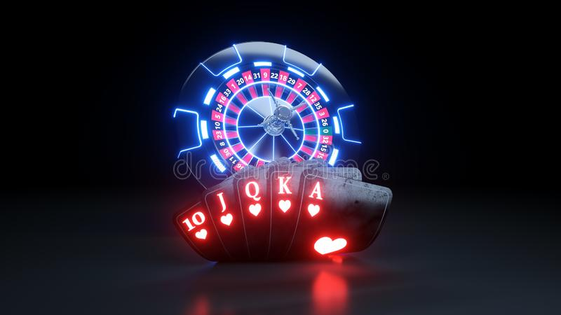 Casino Chips and Poker Cards Flush Royal In Hearts Gambling Concept - 3D Illustration. Casino Gambling Futuristic Concept, Roulette Wheel and Poker Cards 3D stock illustration
