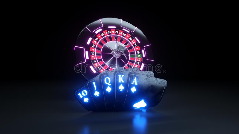 Casino Chips and Poker Cards Flush Royal In Spades Gambling Concept - 3D Illustration. Casino Gambling Futuristic Concept, Roulette Wheel and Poker Cards 3D royalty free illustration