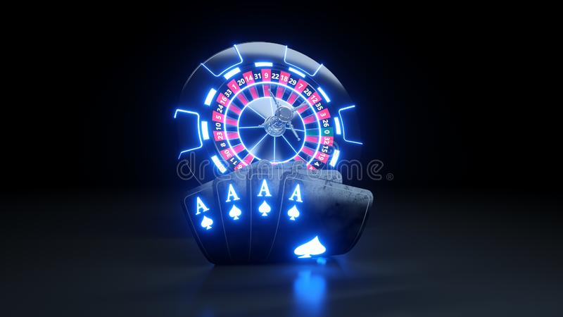 Casino Chips and Poker Cards Four Aces In Spades - 3D Illustration. Casino Gambling Futuristic Concept, Roulette Wheel and Poker Cards 3D Illustration on the royalty free illustration