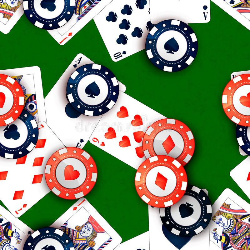 Casino chips and poker cards on green table, seamless pattern. Bright casino chips and poker cards on green table, seamless pattern vector illustration