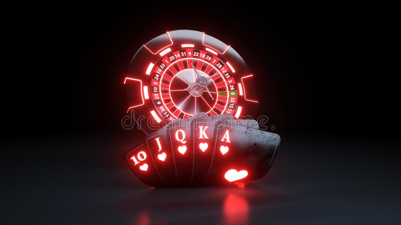 Casino Chips and Poker Cards Royal Flush In Hearts Online Gambling Concept - 3D Illustration. Casino Gambling Futuristic Concept, Roulette Wheel and Poker Cards stock illustration