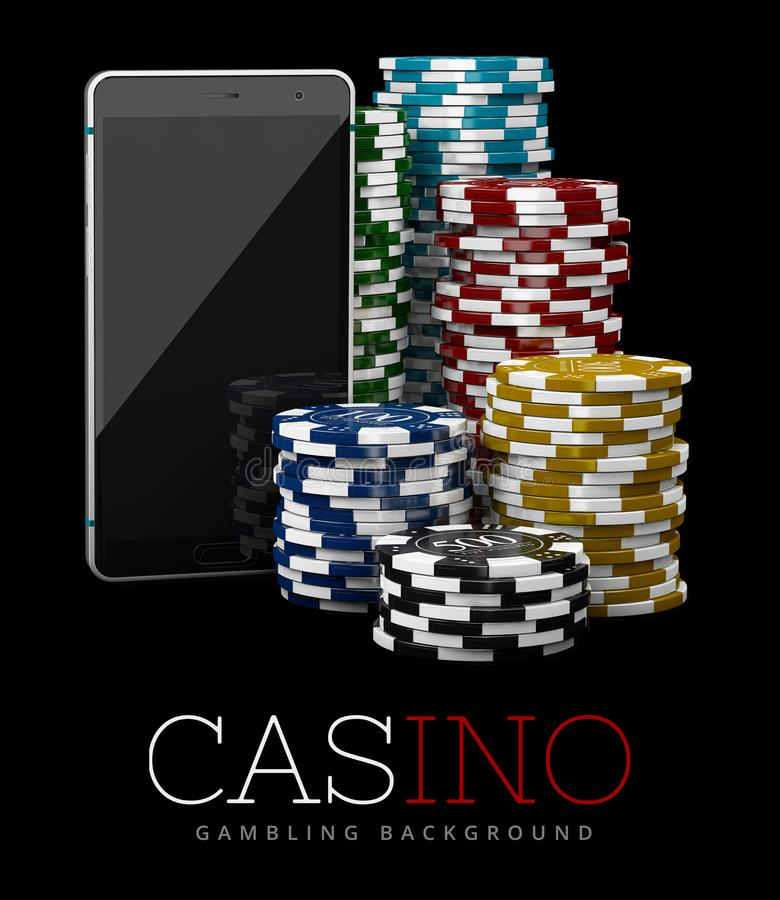 Casino Chips and Smart Phone, online casino concept, 3d Illustration of Casino Games Elements.  royalty free illustration