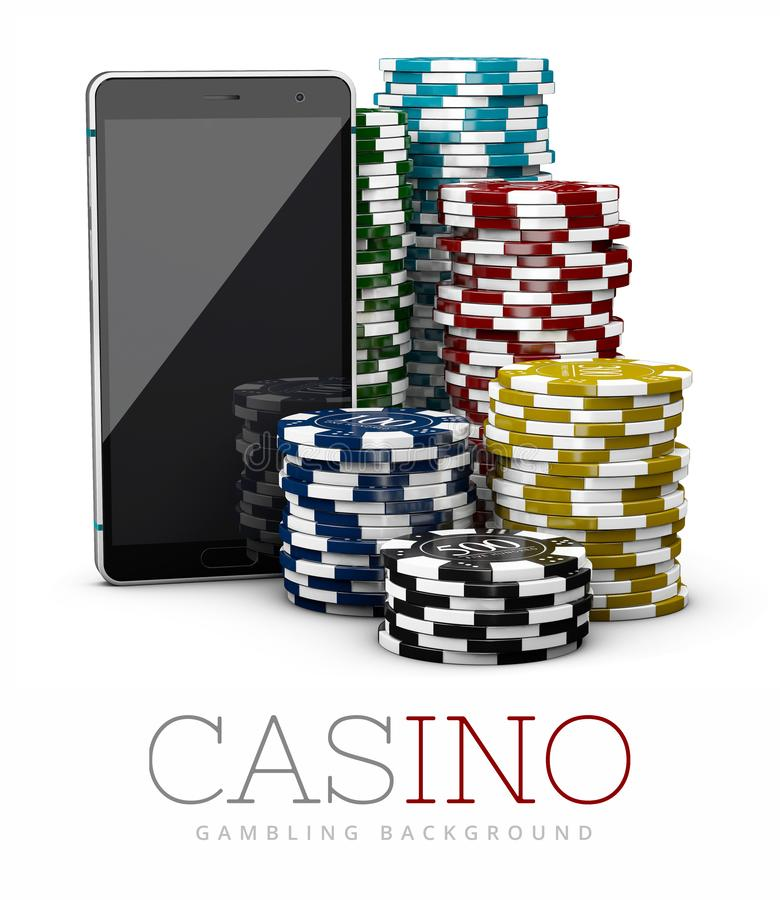 Casino Chips and Smart Phone, online casino concept, 3d Illustration isolated white.  royalty free illustration