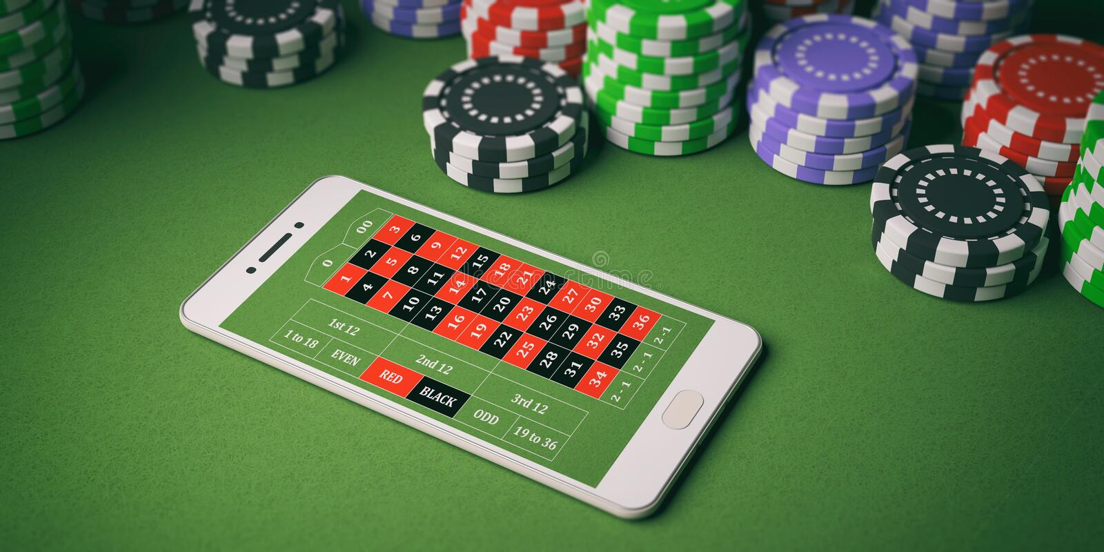 Casino chips and smartphone on green felt. 3d illustration. Online casino concept. Chips and smartphone on green felt background. 3d illustration stock illustration