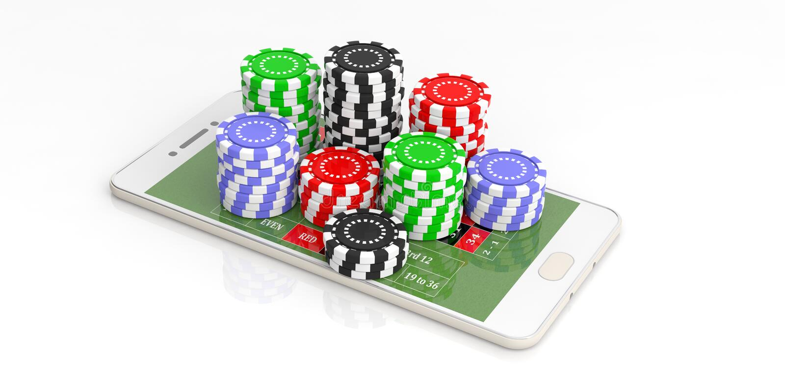 Casino chips and smartphone on white background. 3d illustration. Online casino concept. Chips and smartphone on white background. 3d illustration vector illustration