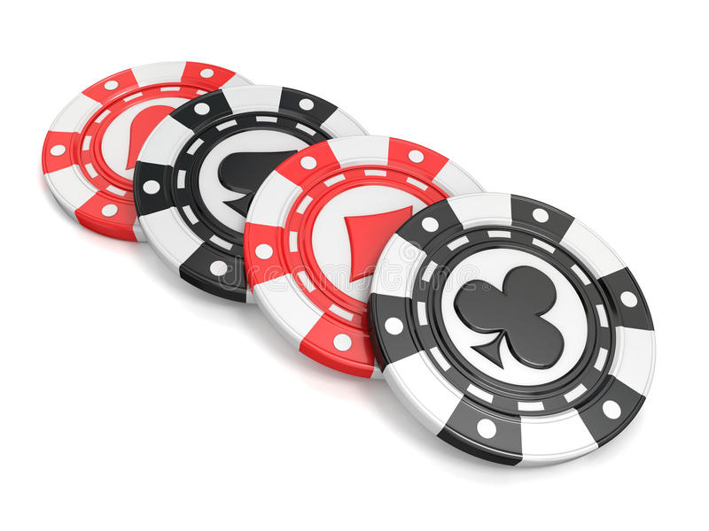 Casino chips with spade, heart diamond and club on it. 3D render. Illustration isolated on white background stock illustration