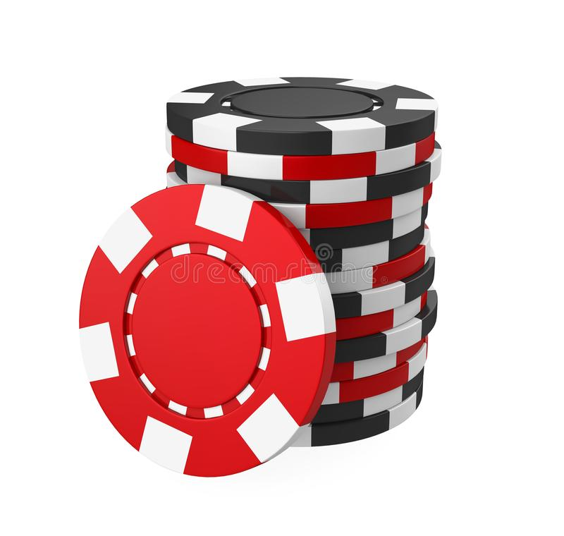 Casino Chips Stacks Isolated. On white background. 3D render royalty free illustration