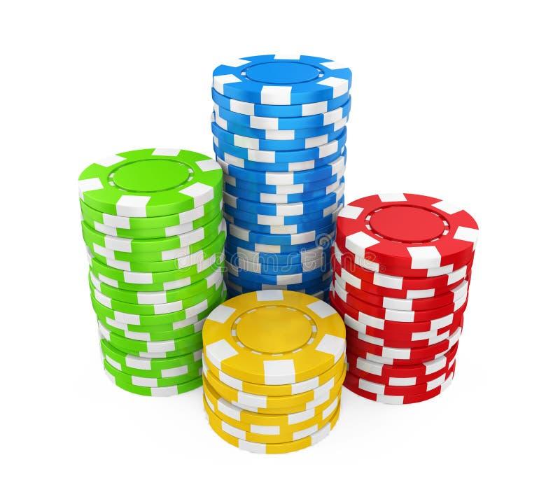 Casino Chips Stacks Isolated. On white background. 3D render vector illustration
