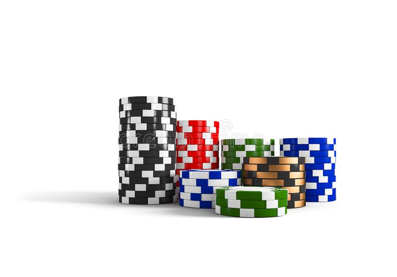 Casino chips stacks isolated on white background. Game concept. 3D rendering.  vector illustration