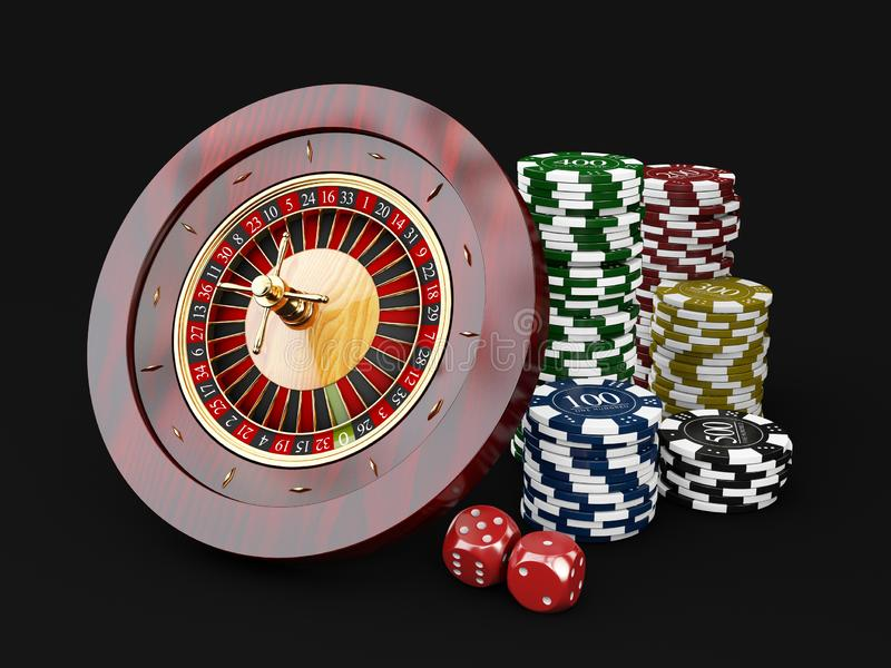 Casino chips stacks with roulette and dice. 3d Illustration on black background.  vector illustration