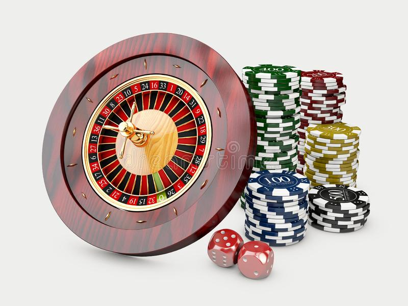 Casino chips stacks with roulette and dice. 3d Illustration on white background.  vector illustration
