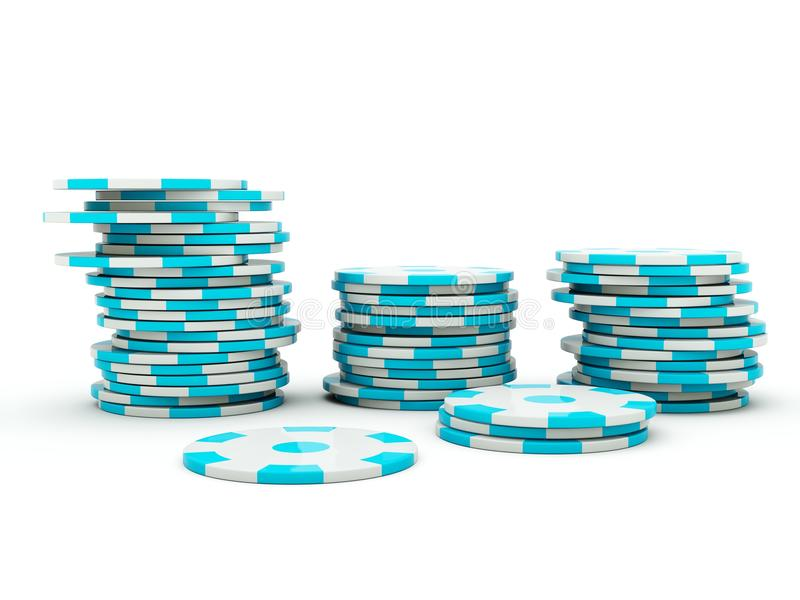 Casino chips on white. Blue and grey series vector illustration