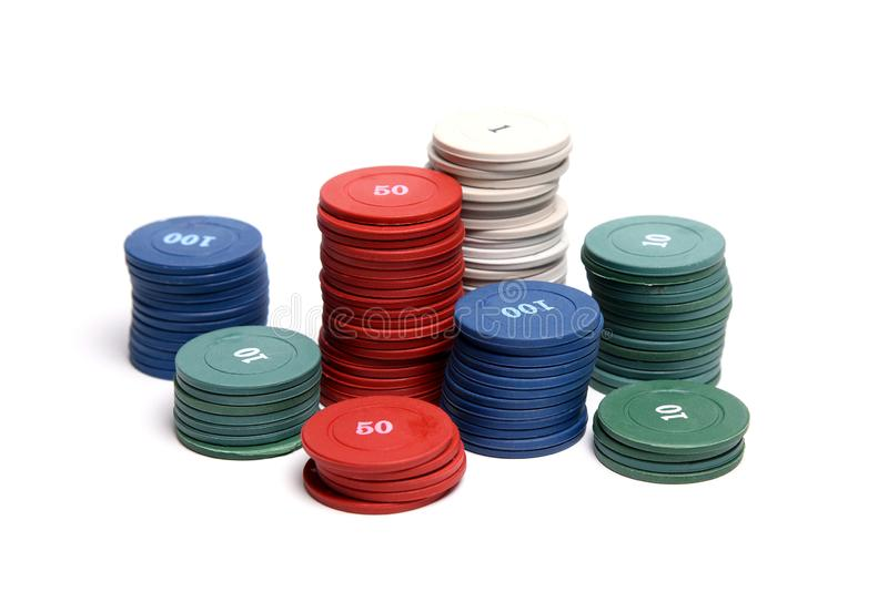 Casino chips on white background isolated. royalty free stock photography