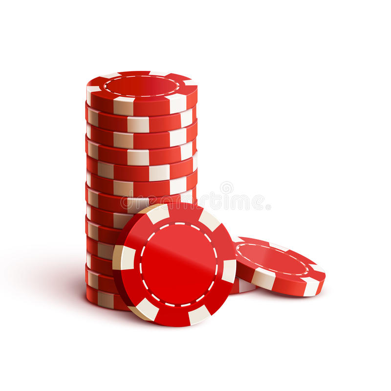 Casino chips on white realistic theme stock illustration