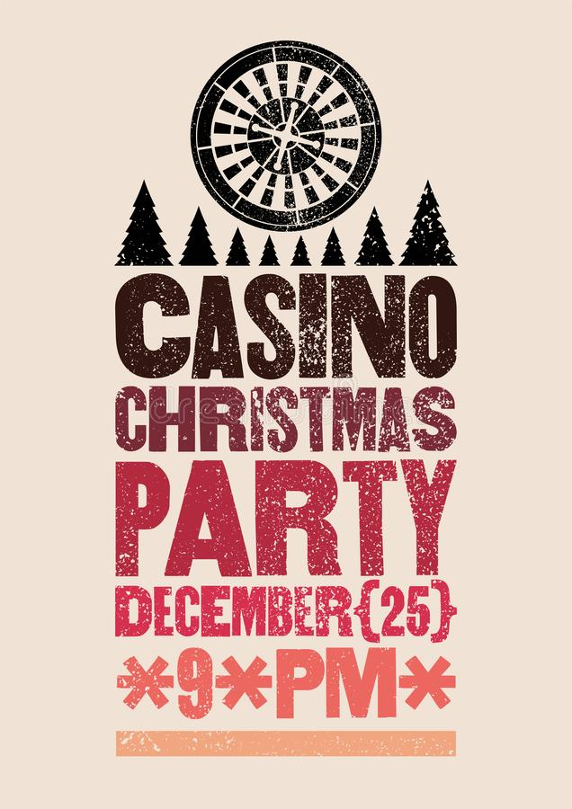 Casino Christmas Party typographic retro grunge poster. Retro vector illustration. vector illustration