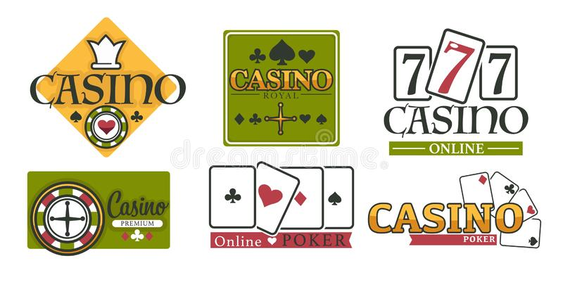 Casino club gambling games isolated icons poker chips and play cards vector illustration
