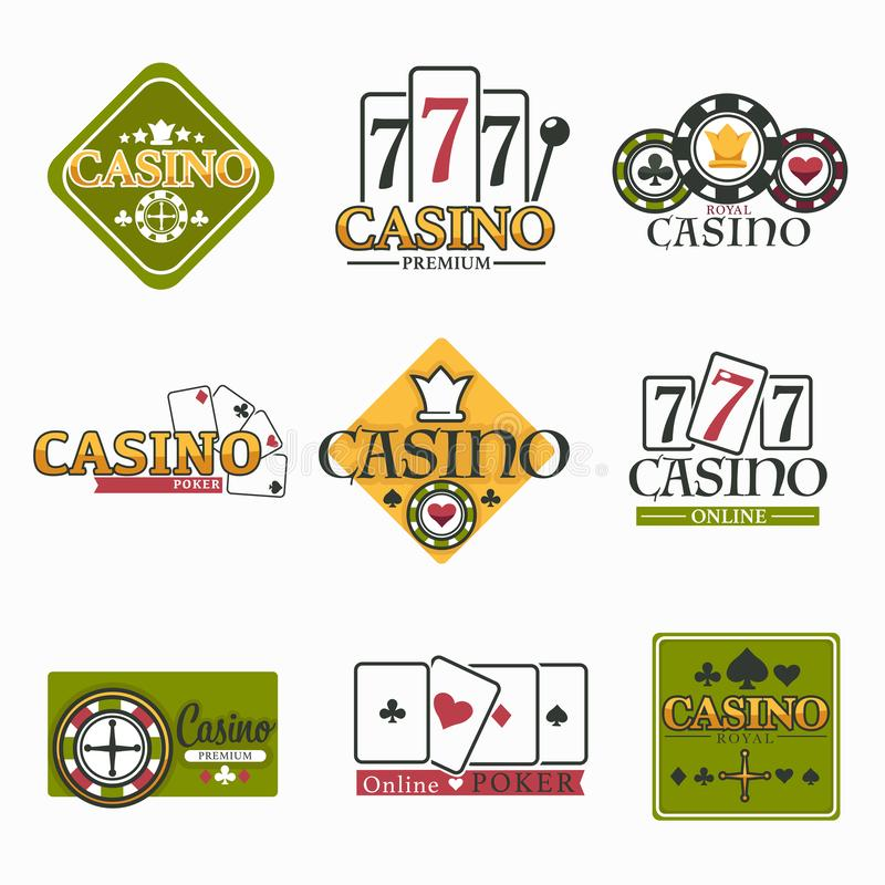 Casino club and gambling isolated icon poker and roulette. Gambling casino club isolated icons poker chips and play cards vector blackjack game and roulette royalty free illustration