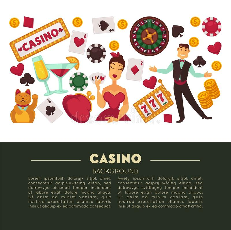 Casino club and gambling roulette and poker game. Gambling and casino roulette wheel and poker game vector play cards and chips alcohol cocktails drink and stock illustration