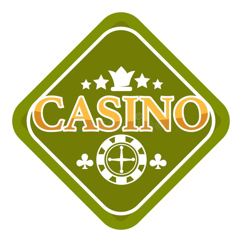 Casino club isolated icon crown and roulette wheel. Gambling casino royal club isolated icon poker chip and crown vector roulette wheel play cards blackjack game royalty free illustration