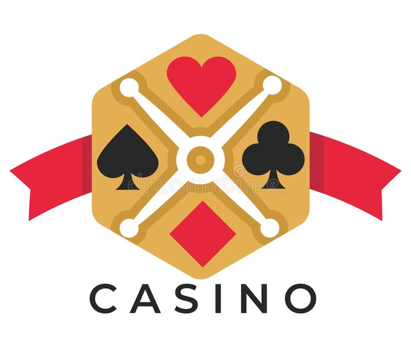 Casino club isolated icon play card suits poker and roulette. Gambling games casino isolated icon play card suits vector poker and roulette money stakes and win vector illustration