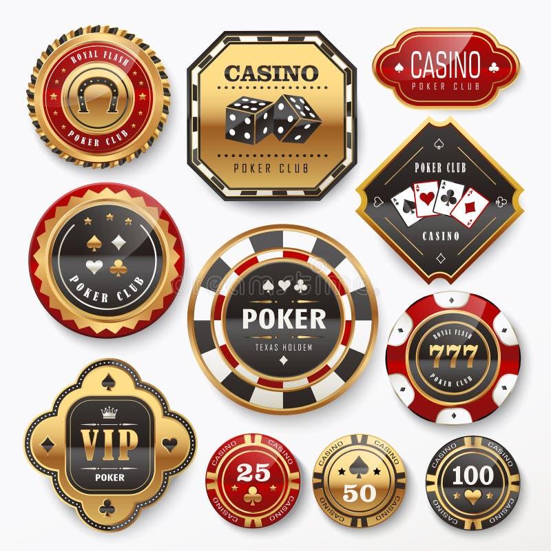 Casino club labels collection. Golden casino club labels collection set in white background vector illustration