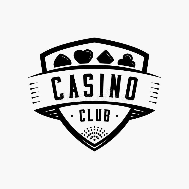 Casino club logo. Vector and illustration. Casino club logo. Casino shield vintage design logo template. Casino t-shirt and apparel design, typography, print stock illustration