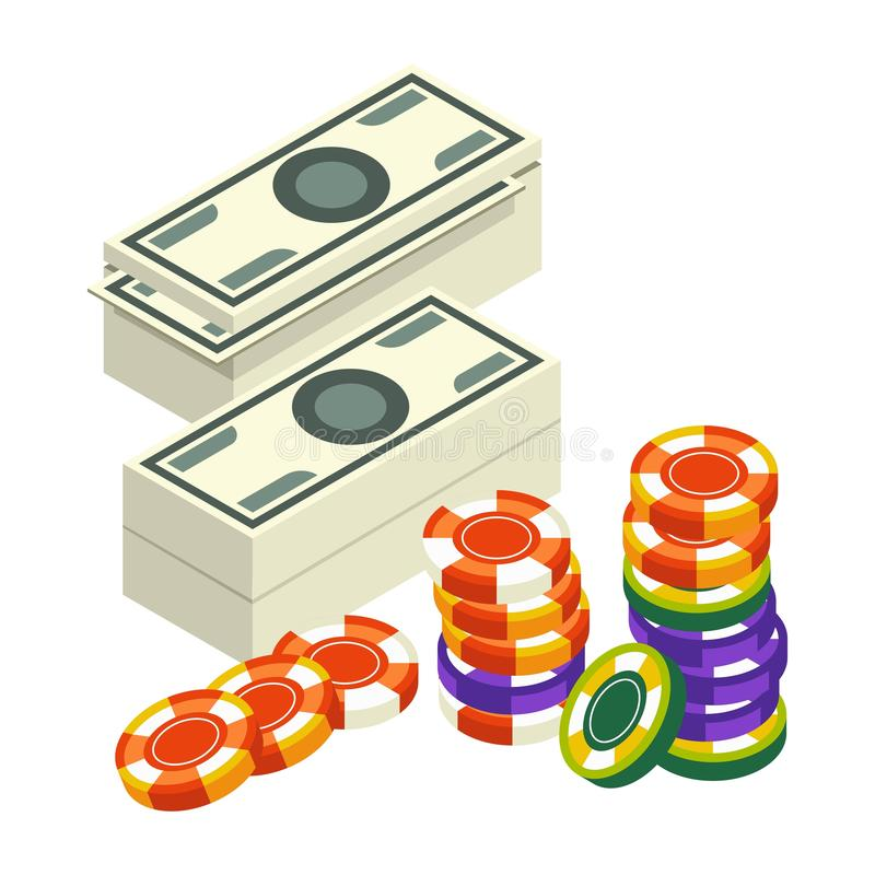 Casino club, money stack and poker chips, blackjack vector illustration