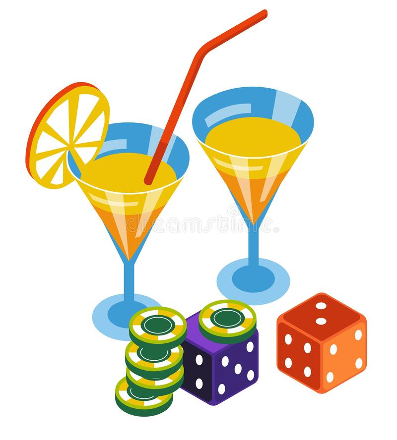 Casino club, poker chips and dices, bar cocktails. Poker chips and dices, casino club, bar cocktails isolated icon vector. Blackjack and roulette, playing vector illustration