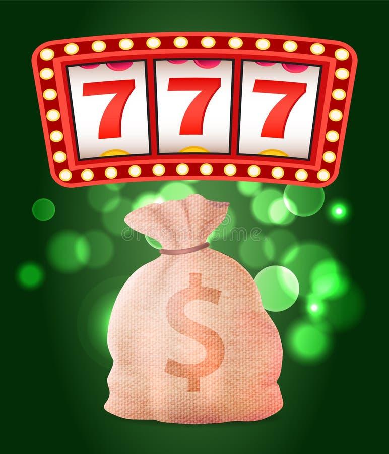 Casino Club, Slot or Fruit Machine and Money Sack royalty free illustration