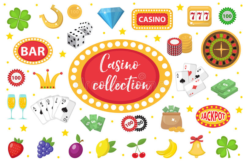 Casino Collection. Gambling set isolated on a white background. Poker, card games, one-armed bandit, roulette kit vector illustration