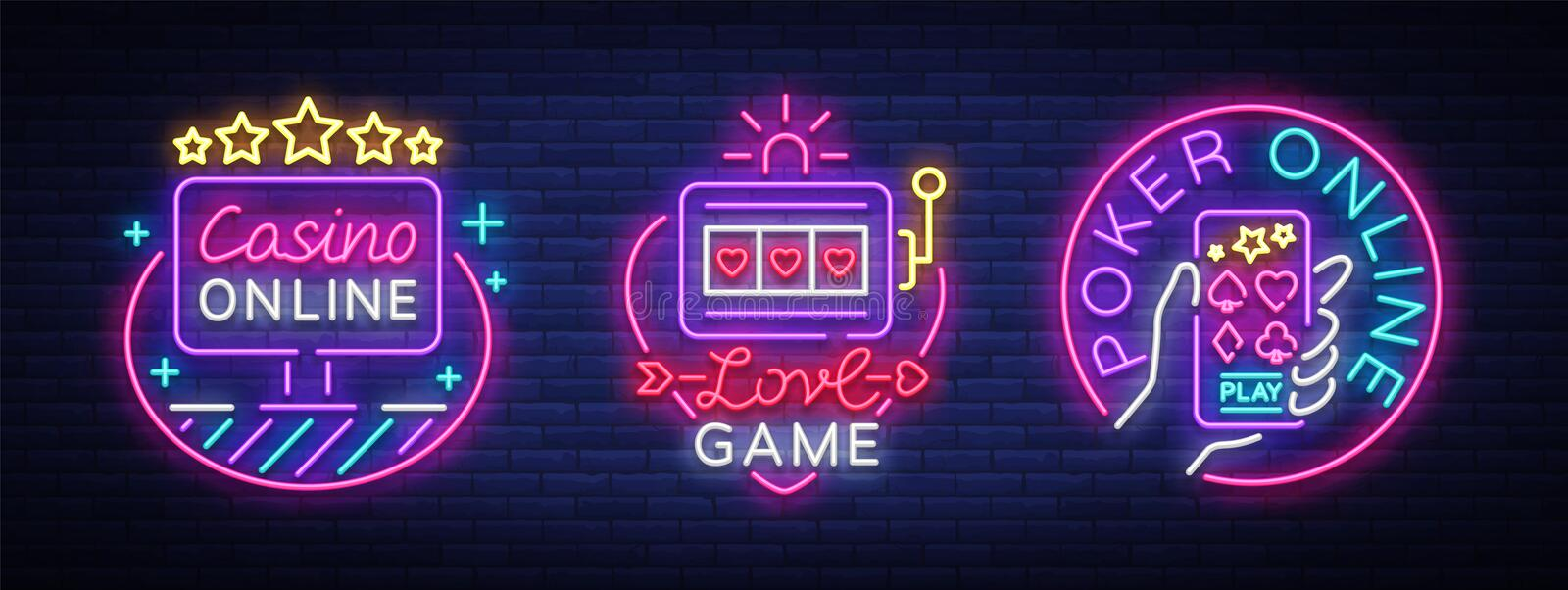 Casino collection of neon signs. Design template in neon style. Slot Machines, Poker Online Bright Logo Character vector illustration