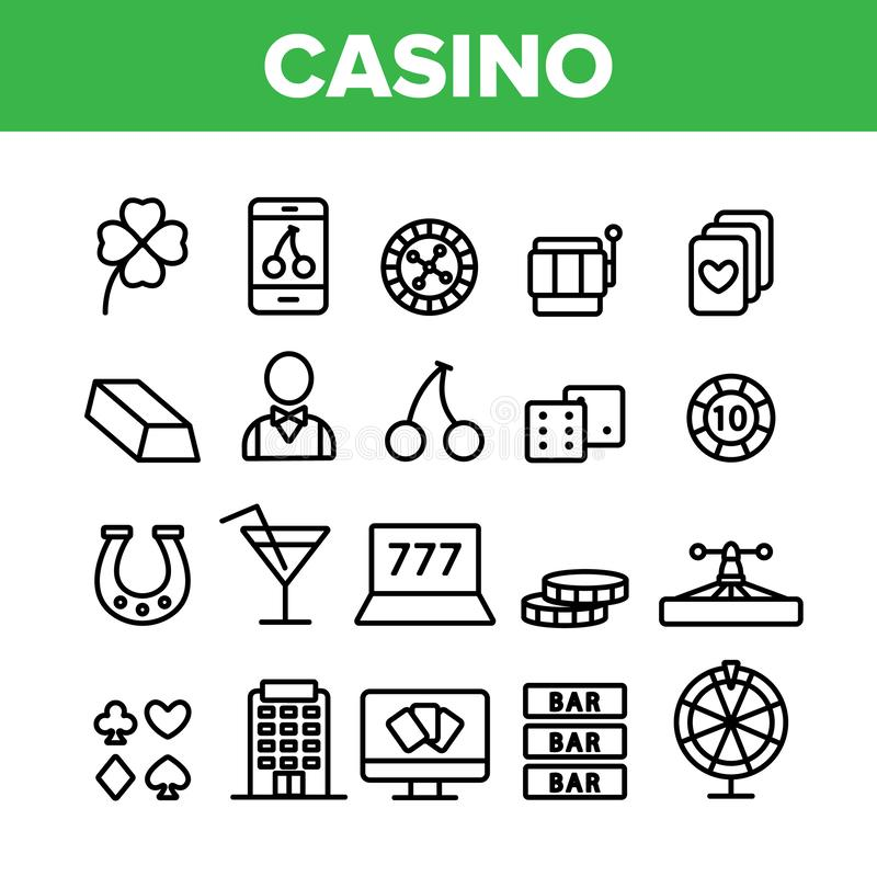 Casino Collection Play Elements Vector Icons Set. Thin Line. Casino Chip And Cards, Smartphone and Laptop, Roulette And Dealer Concept Linear Pictograms vector illustration
