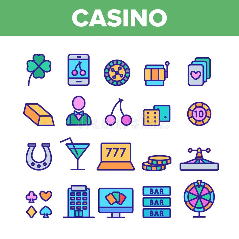 Casino Color Play Elements Vector Icons Set. Casino Collection Play Elements Vector Icons Set Thin Line. Casino Chip And Cards, Smartphone and Laptop, Roulette royalty free illustration